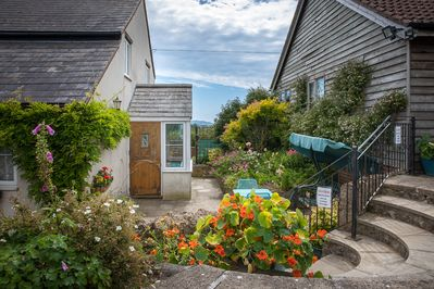 Pretty cottage garden and stunning views of the Dorset countryside.