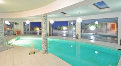 the pool with sliding doors