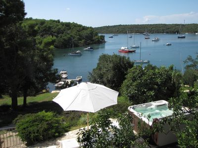 Photo for Directly on the sea, fantastic view, near Pula, garden and whirlpool.