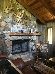 Beautiful fieldstone wood fireplace