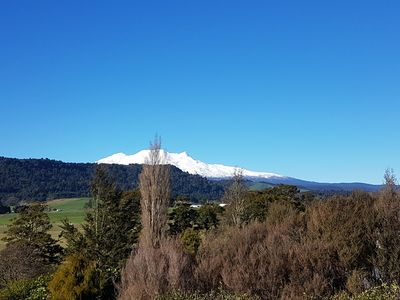 View of Mt Ruapehu from deck, living room & kitchen