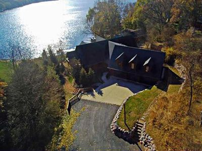 Photo for Waterfront Hand-Crafted Log Cabin with over 3 Acres to Explore