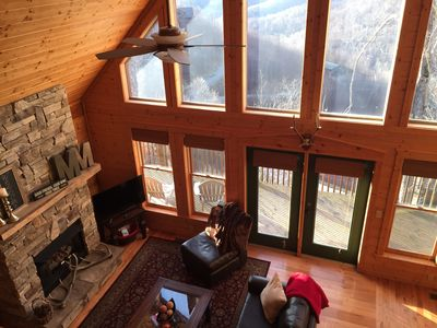 Photo for Log Cabin, Ski/Hot Tub + Mountain Views! 3mi to AT - 30min to Asheville Pets Ok