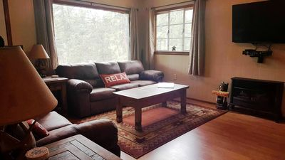 """Living area with 50"""" Smart TV"""