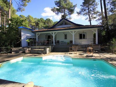Photo for Villa Green Land, private pool, located on golf Lacanau, between lake and ocean