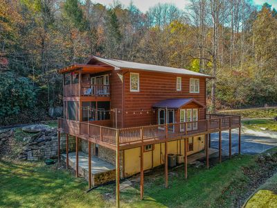 Photo for Grand Ladybug Resort on a Creek. Family Cabin with a Pond and Forest Views