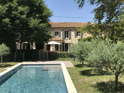 Photo for Isle/Sorgue 18th cent. renovated farmhouse-15x4 heated pool large garden