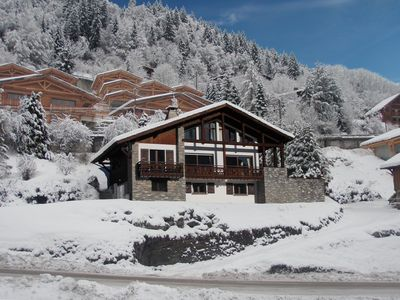Photo for Chalet In Morzine Town With Private Grounds. Slope Views. 50 metres to bus stop.
