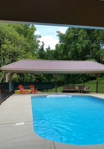 Private 18' x 36' pool with pavillions is 330 feet down from the cottage.