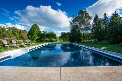 Large 40 ft. long Saltwater pool and hot tub on the south lawn.