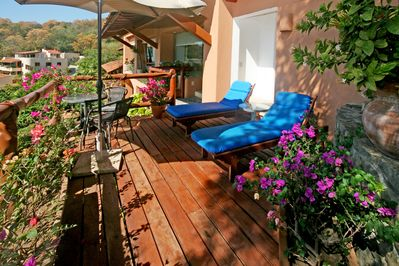 Your private deck looking out at the ocean and bay.