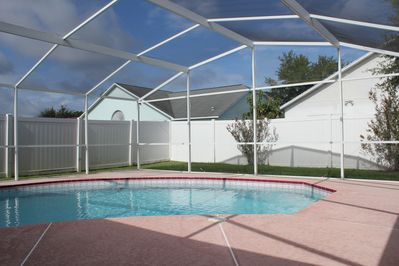 Pool area fully fenced in for optimal privacy