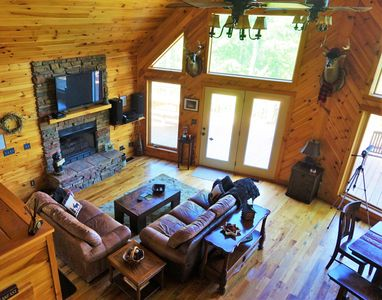 """Great room with stone fireplace, 50"""" Directv, Amazon Fire, DVD and stereo"""