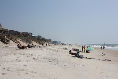 Surf City is known for it white sand uncrowded beaches    beach in front of home