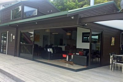 The panoramic doors to the deck