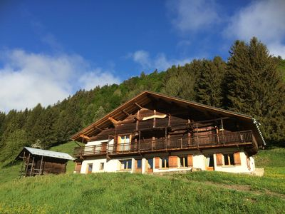 Photo for Beautiful renovated chalet - 12 pers - exceptional view of Mt Blanc - WIFI