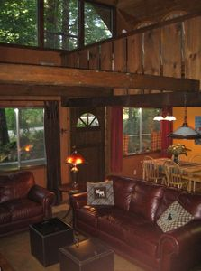 Cozy cabin and comfy leather couches