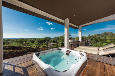 Private oversized jacuzzi on the private terrace area