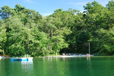 The beautiful sandy beach has clear water and a great swimming area.