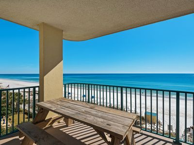 Photo for Bright, spacious condo, Gulf front views, close to shopping & dining