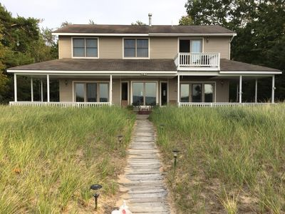 Photo for Lake Michigan Beachfront 4 bedroom Home with Fantastic Lake Views and huge beach