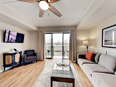 Photo for Downtown Condo w/ Balcony View of Cape Fear River & Battleship North Carolina