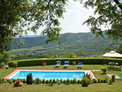 Photo for Wonderful private villa with WIFI, private pool, TV, patio, panoramic view, parking, close to Arezzo