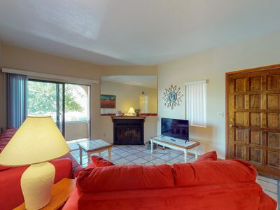 Photo for NEW LISTING! Condo w/fireplace, shared pool & hot tub-near dining/golfing/hiking