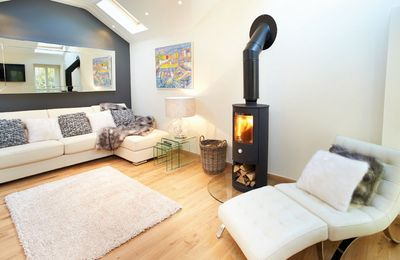 Ground floor: The cosy wood burning stove in the sitting area