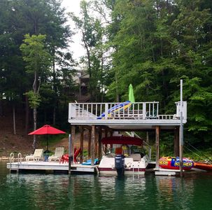 Double decker dock-Lounge chairs, Adirondack chairs & picnic table on top