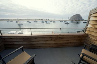 Your balcony offers amazing views of the harbor, ocean, and Morro Rock.