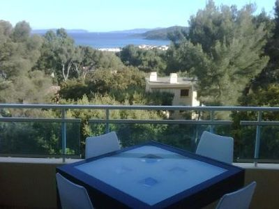Photo for 2 rooms with sea view in residence with swimming pools in Bormes les Mimosas.