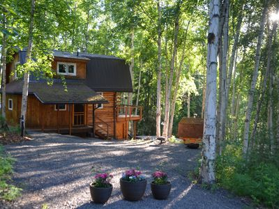 Photo for PRIVATE LOG HOME NESTLED AMONG THE BIRCH TREES