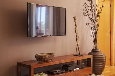TV (Int. channels), Blu-ray, Hi-Fi with bluetooth, cd/dvd collection inside