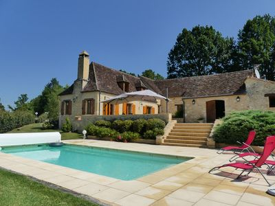 Photo for Pretty 17th century farmhouse, restored with pool, beautiful view of the valley