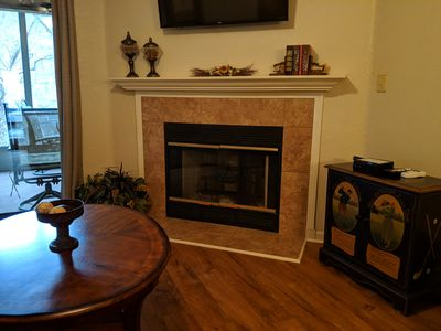 Cozy electric fireplace in living room