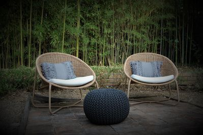 Bamboo surrounds your patio, with comfortable seating and a table and chairs