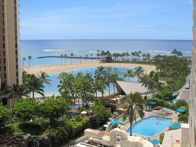 View of lobby pool and lagoon/ocean from Lanai.