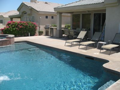 9 foot deep pool with room to relax