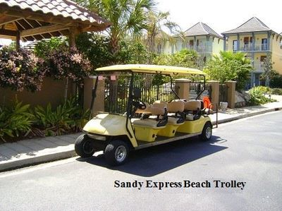 Seasonal beach trolley.