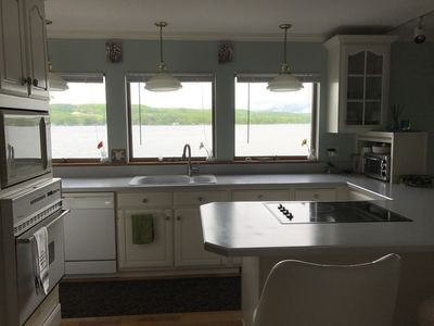 Kitchen overlooking deck and water