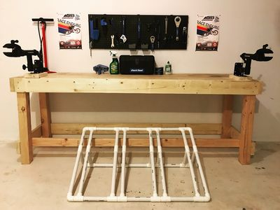 Work Bench w/ 2x Repair Stands, Park Tool, Grease, Chain Lube, and Bike Pump