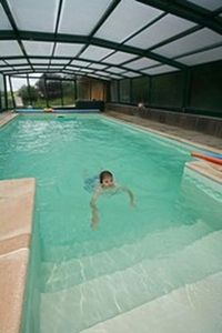 Salt filtration pool, covered and heated