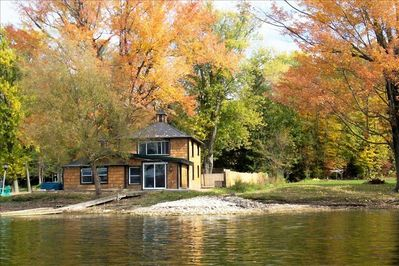 View of the Lake House Cottage from the lake.