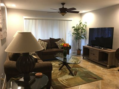 First floor end unit, Beautiful!  Pet friendly (one dog) Close to the Beach.
