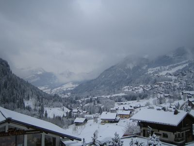 View over Abondance Valley in winter