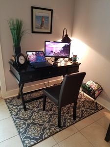 Office central with a monitor & wireless printer.  Hook up your laptop!  Wifi!!