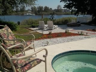 Private backyard with waterview and Jacuzzi.