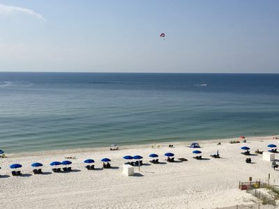 View of the beach and Gulf of Mexico from our 6th floor balcony-- the best!