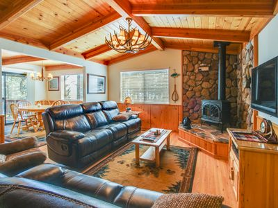 Photo for Cozy home w/ lake views from deck - walking distance to beach!